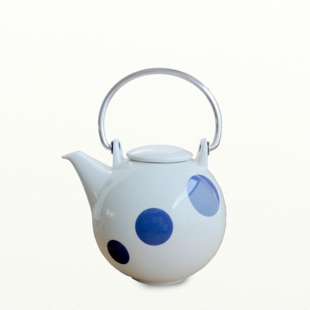 Tepotte 1,5 ltr - hvid m. blå prikker - Happydot serien - Eslau Varenr. 3804bl