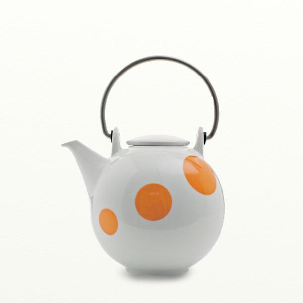 Tepotte 1,5 ltr - hvid m. orange prikker - Happydot serien - Eslau varenr. 3804or