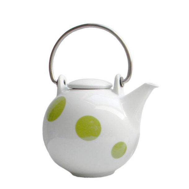 Tepotte 1,5 ltr - hvid m. lime grønne prikker - Happydot serien - Eslau varenr. 3804li