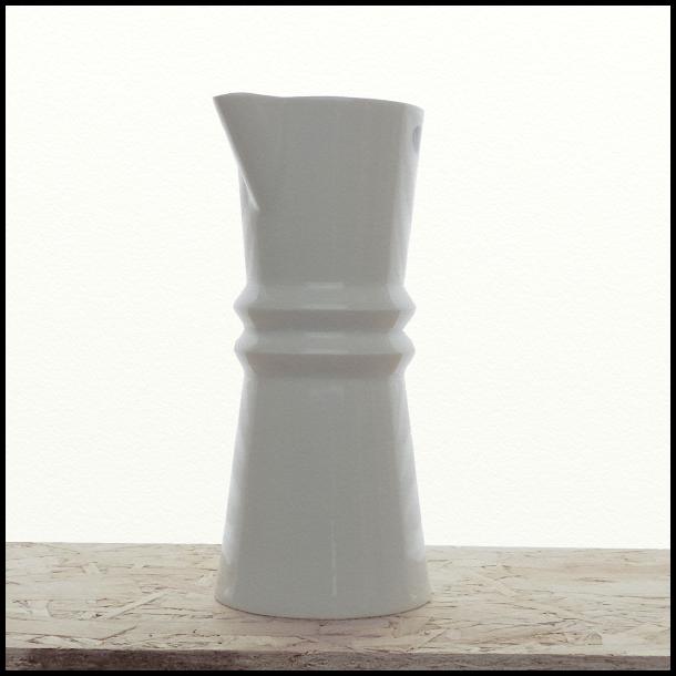 Vinkaraffel i hvid porcelæn, Zig Zag stellet, design: Richard Manz