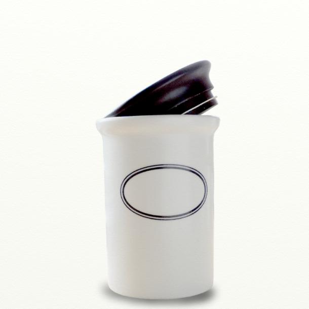 Opbevaringskrukke m. ovalt skrivefelt - Design Bjarne Bo