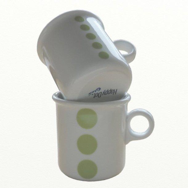 2 stk krus 0,25 ltr., limegrønne prikker. Design TUE & Dot design JCL