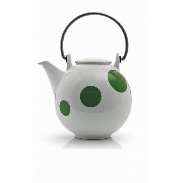 Happydot tepotte 1,5 ltr. i porcelæn med grønne prikker.Design: EJNAR og JCL