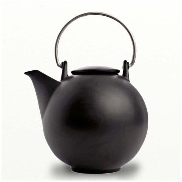 Bornholm Tekande 2,6 ltr, sortmat porcelæn, design Ejnar