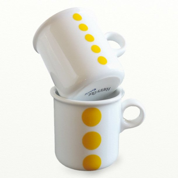 Krus 0,25 ltr - gule - Happydot serie - design tue & Dot design JCL
