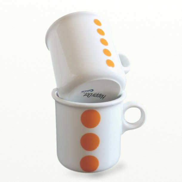2 stk krus 0,25 ltr., orange prikker. Design TUE & Dot design JCL.