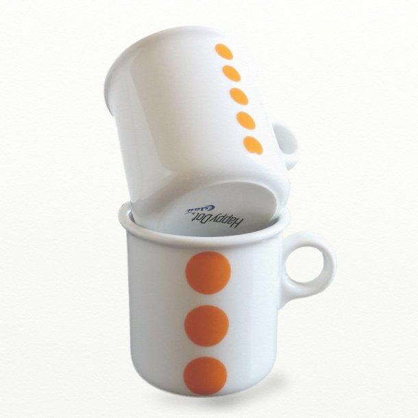 2 stk krus 0,25 ltr., orange prikker. Design TUE & Dot design JCL.
