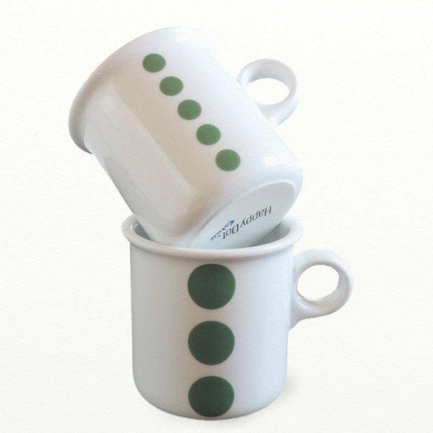 2 stk krus 0,25 ltr., grangrønne prikker. Design TUE; Dot Design JCL